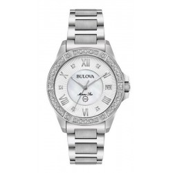 Women's Bulova Watch Marine Star 96R232 Diamonds Mother of Pearl