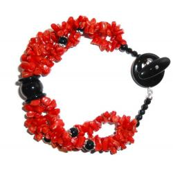 Red Coral with Onyx Women's Bracelet CR010