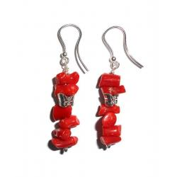 Women's Red Coral and Silver Earrings CR029