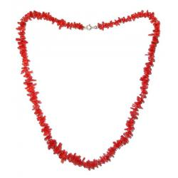 Women's Red Coral Necklace with Silver CR121