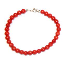 Red Coral with Silver Women's Bracelet CR126