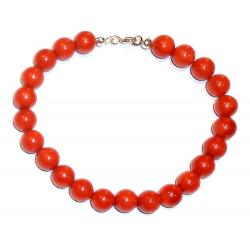 Red Coral with Silver Women's Bracelet CR127
