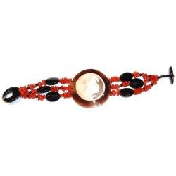 Women's Red Coral and Onyx Bracelet with Cameo CR201