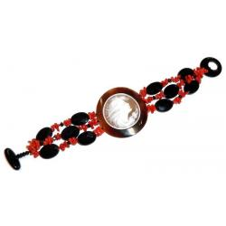 Red Coral and Onyx with Cameo Women's Bracelet CR202