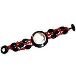 Red Coral and Onyx with Cameo Women's Bracelet CR204