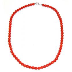 Women's Red Coral Necklace with Silver CR205