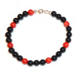 Red Coral and Onix Women's Bracelet CR206