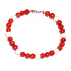 Red Coral and White Agate Women's Bracelet CR207