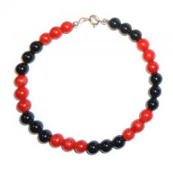 Red Coral and Onix Women's Bracelet CR208