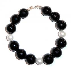 Onix and White Pearls Women's Bracelet CR209