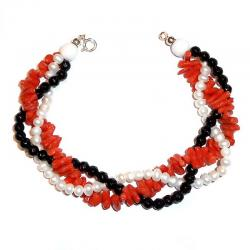 Red Coral Onix and White Pearls Women's Bracelet CR210