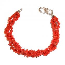 Red Coral with Silver Women's Bracelet CR213