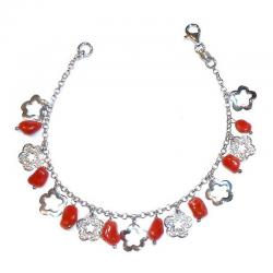 Red Coral with Silver Women's Bracelet CR214