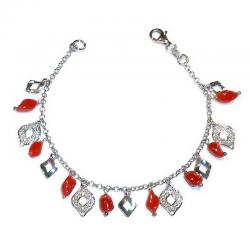 Red Coral with Silver Women's Bracelet CR215