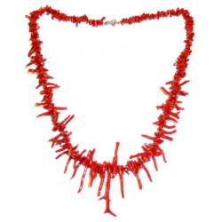 Women's Red Coral Necklace with Silver CR216