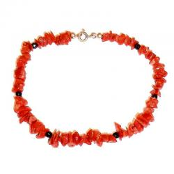 Red Coral with Onyx Women's Bracelet CR217