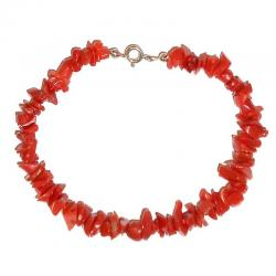 Red Coral with Silver Women's Bracelet CR218