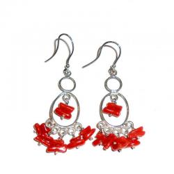 Women's Red Coral and Silver Earrings CR227