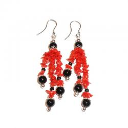 Women's Red Coral Onix and Silver Earrings CR228