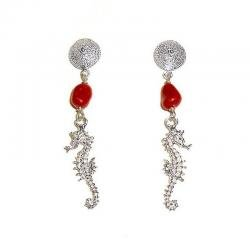 Women's Red Coral and Silver Earrings Seahorse CR230