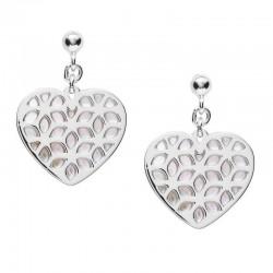 Buy Women's Fossil Earrings Sterling Silver JFS00489040 Heart Mother of Pearl
