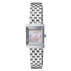 Buy Women's Gucci Watch G-Frame Square Medium YA128401 Diamonds Mother of Pearl
