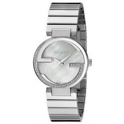 Women's Gucci Watch Interlocking Small YA133508 Diamonds Mother of Pearl