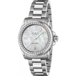 Buy Women's Gucci Watch Dive Medium YA136406 Diamonds Mother of Pearl