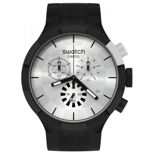 Buy Swatch Watch Big Bold Chrono Chequered Silver SB02B404