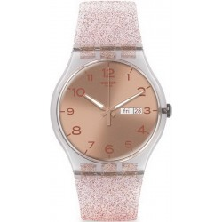 Women's Swatch Watch New Gent Pink Glistar SUOK703
