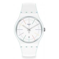Unisex Swatch Watch New Gent White Layered SUOS404