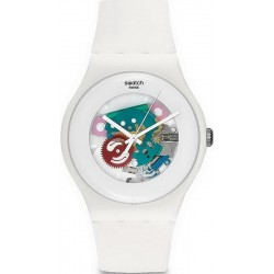 Unisex Swatch Watch New Gent White Lacquered SUOW100