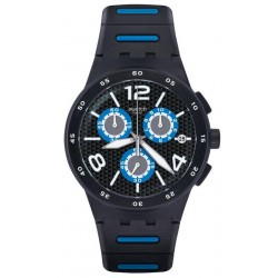 Men's Swatch Watch Chrono Plastic Black Spy SUSB410 Chronograph
