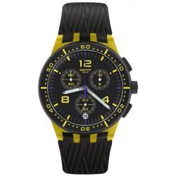 Unisex Swatch Watch Chrono Plastic Yellow Tire SUSJ403 Chronograph
