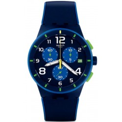 Men's Swatch Watch Chrono Plastic Bleu Sur Bleu SUSN409 Chronograph
