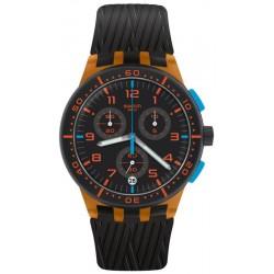 Unisex Swatch Watch Chrono Plastic Orange Tire SUSO401 Chronograph
