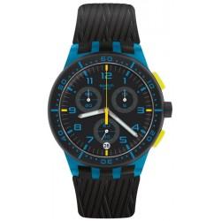 Unisex Swatch Watch Chrono Plastic Blue Tire SUSS402 Chronograph