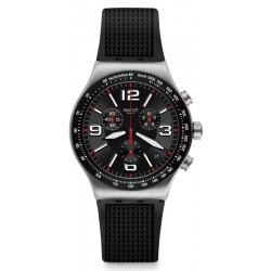 Men's Swatch Watch Irony Chrono Very Dark Grid YVS461 Chronograph