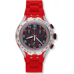 Men's Swatch Watch Irony Xlite Red Attack YYS4018AG Chronograph